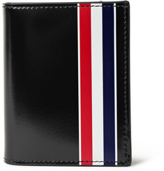 Thom Browne Striped Patent-Leather Bifold Cardholder