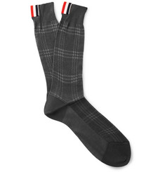 Thom Browne Grosgrain-Trimmed Checked Cotton Socks