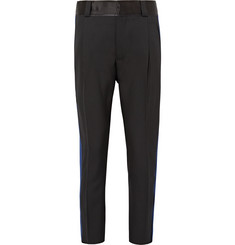 Haider Ackermann Slim-Fit Cropped Satin and Grosgrain-Panelled Wool Trousers