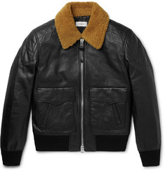 Coach Shearling-Trimmed Leather Bomber Jacket