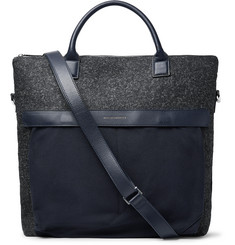 WANT LES ESSENTIELS O'Hare II Leather-Trimmed Mélange Flannel and Canvas Tote Bag