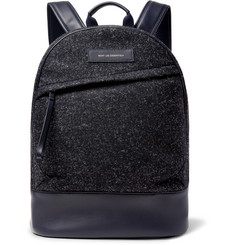 WANT LES ESSENTIELS Kastrup Leather-Trimmed Mélange Flannel Backpack
