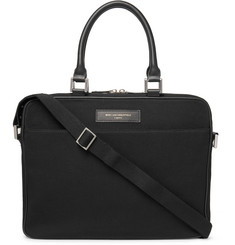 WANT LES ESSENTIELS Haneda Leather-Trimmed Organic Cotton-Canvas Briefcase