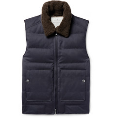 Brunello Cucinelli Shearling-Trimmed Quilted Twill Down Gilet