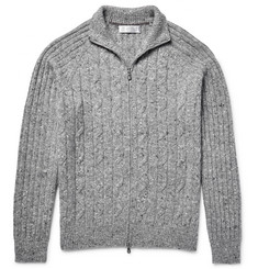 Brunello Cucinelli - Mélange Cable-Knit Zip-Up Cardigan
