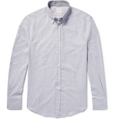 Brunello Cucinelli Slim-Fit Button-Down Collar Herringbone Cotton Shirt