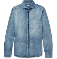 Brunello Cucinelli - Slim-Fit Cutaway-Collar Washed-Denim Shirt