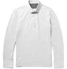 Brunello Cucinelli Mélange Cotton-Jersey Polo Shirt