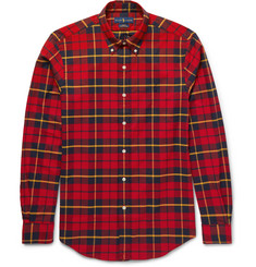 Polo Ralph Lauren Button-Down Collar Checked Stretch-Cotton Shirt