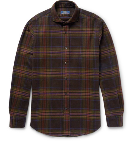 Polo Ralph Lauren Slim-Fit Cutaway-Collar Checked Cotton and Wool-Blend Flannel