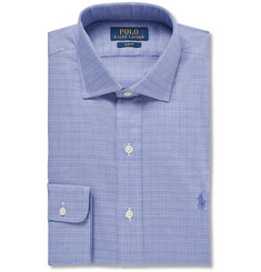 Polo Ralph Lauren Blue Slim-Fit Cutaway-Collar Checked Cotton Shirt
