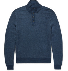 Polo Ralph Lauren Funnel-Neck Suede-Trimmed Silk Sweater