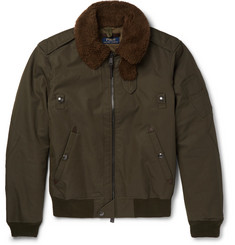 Polo Ralph Lauren Shearling-Trimmed Cotton-Blend Twill Down Bomber Jacket
