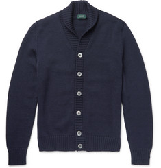 Incotex Shawl-Collar Virgin Wool Cardigan