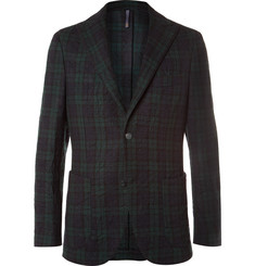 Incotex Slim-Fit Checked Crinkled Wool-Blend Blazer
