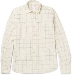 Incotex Windowpane-Checked Cotton-Flannel Shirt
