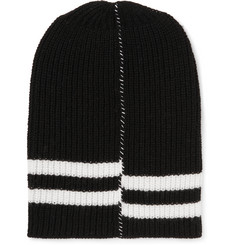 Raf Simons Striped Ribbed Wool Beanie