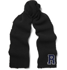 Raf Simons - Appliquéd Distressed Ribbed Virgin Wool Scarf