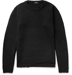 Raf Simons Distressed Ribbed Virgin Wool Sweater