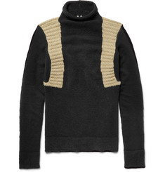 Rick Owens Panelled Wool-Blend Mock Neck Sweater