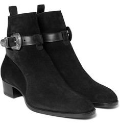 Saint Laurent - Leather-Trimmed Suede Jodhpur Boots