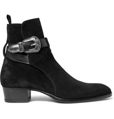 Saint Laurent Leather-Trimmed Suede Jodhpur Boots