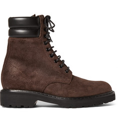 Saint Laurent Leather-Trimmed Brushed-Suede Boots