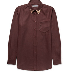 Givenchy Cuban-Fit Metal-Tipped Cotton-Flannel Western Shirt