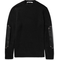 Givenchy Leather Elbow-Patch Wool Sweater