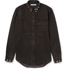 Givenchy Cuban-Fit Studded Stretch-Denim Shirt