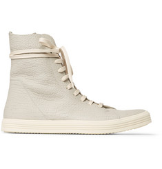 Rick Owens Mastodon Cracked-Leather High-Top Sneakers