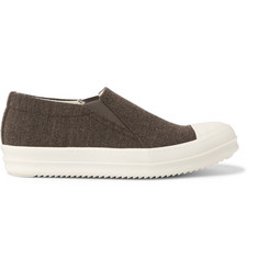 Rick Owens Rubber-Trimmed Wool-Twill Slip-On Sneakers