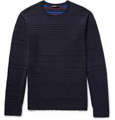 Issey Miyake Men Striped Double-Faced Wool-Blend Sweater
