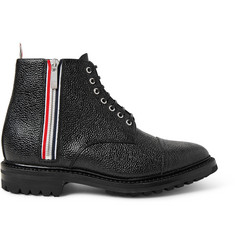 Thom Browne Stripe-Trimmed Pebble-Grain Leather Boots