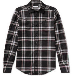 Valentino Slim-Fit Checked Wool-Flannel Western Shirt