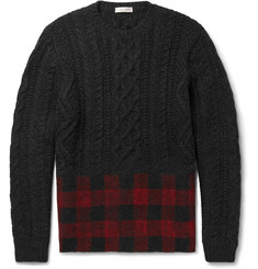 Valentino Check-Panelled Cable-Knit Wool and Alpaca-Blend Sweater