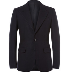 Wooyoungmi Blue Slim-Fit Wool-Piqué Blazer