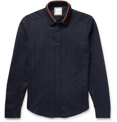 Wooyoungmi Slim-Fit Contrast-Trimmed Herringbone Wool Shirt