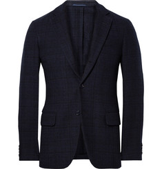 MP Massimo Piombo Blue Slim-Fit Checked Wool-Blend Blazer