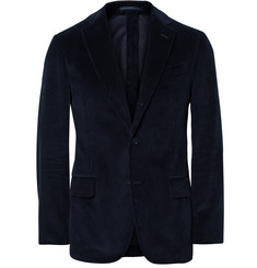 MP Massimo Piombo Blue Slim-Fit Unstructured Cotton-Corduroy Blazer