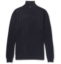 Dunhill Herringbone Cashmere, Wool and Silk-Blend Half-Zip Sweater