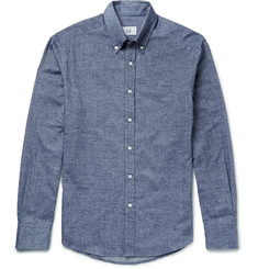 Dunhill Button-Down Collar Brushed Cotton-Chambray Shirt