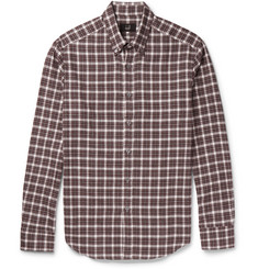 Dunhill Slim-Fit Button-Down Collar Checked Cotton-Flannel Shirt