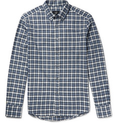 Dunhill Button-Down Collar Checked Brushed-Cotton Flannel Shirt