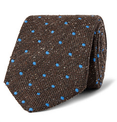 Dunhill - 8cm Polka-Dot Wool and Silk-Blend Tie