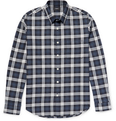 Theory - Rammy Plaid Herringbone Cotton Shirt