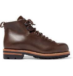 Feit Hiker Shearling-Trimmed Leather Boots