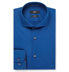 Hugo Boss Blue Jery Slim-Fit Cutaway-Collar Cotton Shirt