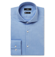 Hugo Boss - Blue Jason Slim-Fit Cutaway-Collar Herringbone Cotton Shirt