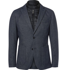 Hugo Boss - Blue Slim-Fit Nalmar Layered Quilted Shell and Cotton Blazer